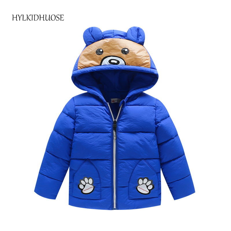 HYIKIDHUOSE 2017 Winter Baby Girls Boys Coats Cartoon Hooded Children Warm Outerwear Kids Outdoor Windproof Parkas Infant Jacket baby boys winter coats jacket children hooded outerwear kids warm cotton padded clothes infant parkas