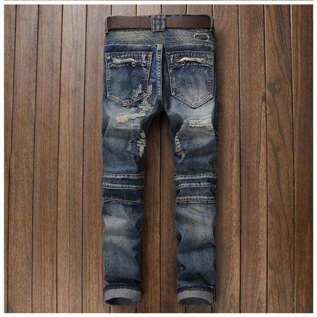 European American Style 2017 marque de mode de luxe Hommes jeans casual slim denim pantalon Droit bleu trou jean à fermeture à glissière pour hommes