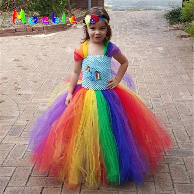 Children Girl Rainbow Tutu Dress Princess Girl Little Pony Tutu Dresses Little Girls Dress Up Fancy Tutus Baby Clothing DT-1630