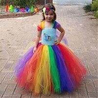 Children Girl Rainbow Tutu Dress Princess Girl Little Pony Tutu Dresses Little Girls Dress Up Fancy