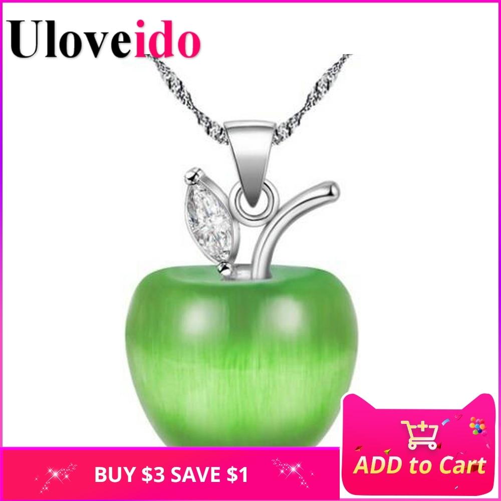 Női macska szemkövek Apple nyaklánc medálok cirkónia cirkóniával barátnőknek Gyerekek divat ékszerek 7 szín Uloveido N335