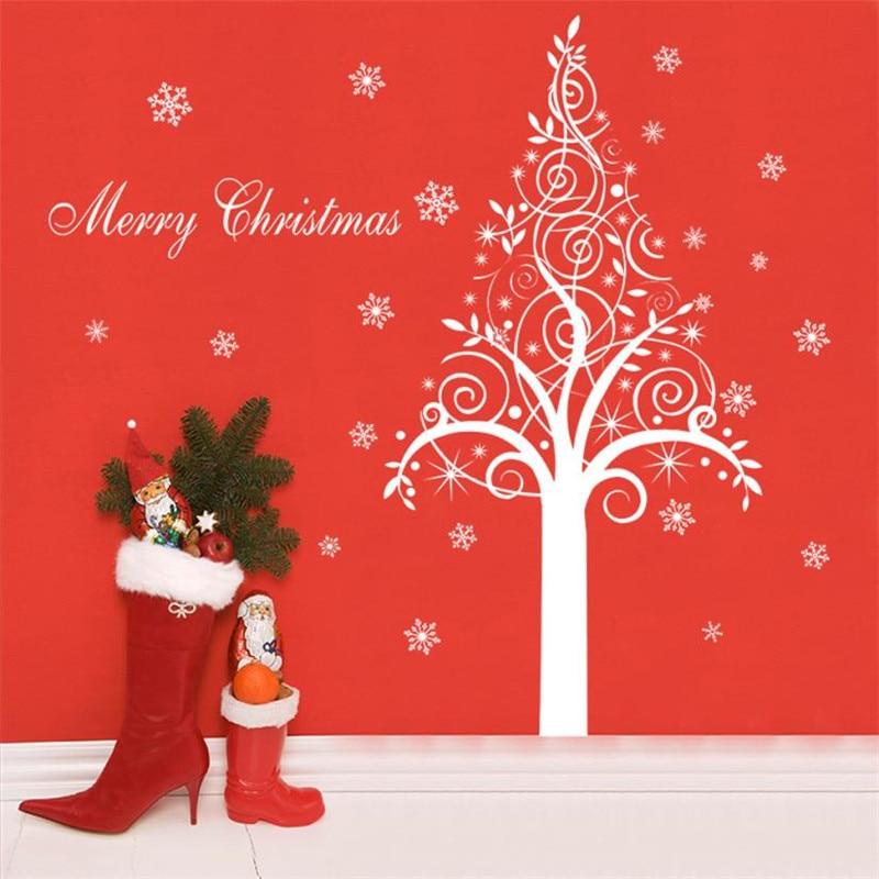 1PC Christmas Vinyl Wall Decal Xmas Elk Mural Art Wall Sticker Christmas White Deer Tree Shop Window Glass Door Home Decor #