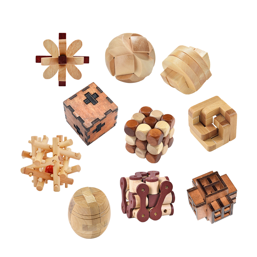 10 Types Kong Ming Luban Locks Old China Ancestral Locks Traditional Wooden Brain Teaser Puzzle Educational