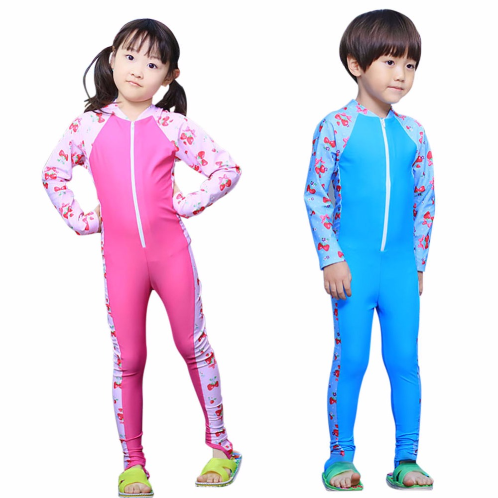 Quick Dry Kids Swimwear Bathing Suits for Age 3-10Y Toddler Girls Wetsuits Long Sleeves Child One Piece Swimsuit