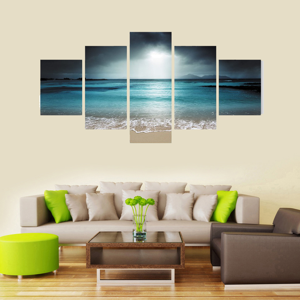 Modern Paintings For Living Room Aliexpresscom Buy 5 Panel Seascape Canvas Painting Sea Wave