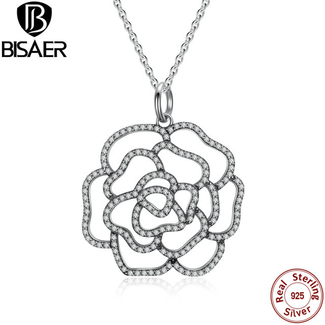 925 sterling silver shimmering rose pendant necklace clear cz 925 sterling silver shimmering rose pendant necklace clear cz necklaces pendants colares jewelry edn004 mozeypictures Images