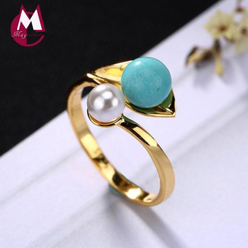 Hippop mode pierre naturelle Turquoise perle initiale réglable dames bague 100% 925 bijoux en argent Sterling 2019 femmes bague R47