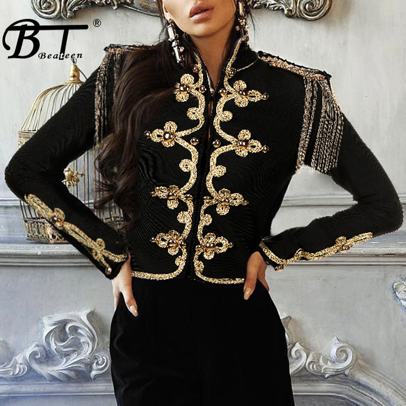 Beateen noir Bandage haut col montant broderie gland Indie Style populaire 2018 femmes nouvelle mode hiver