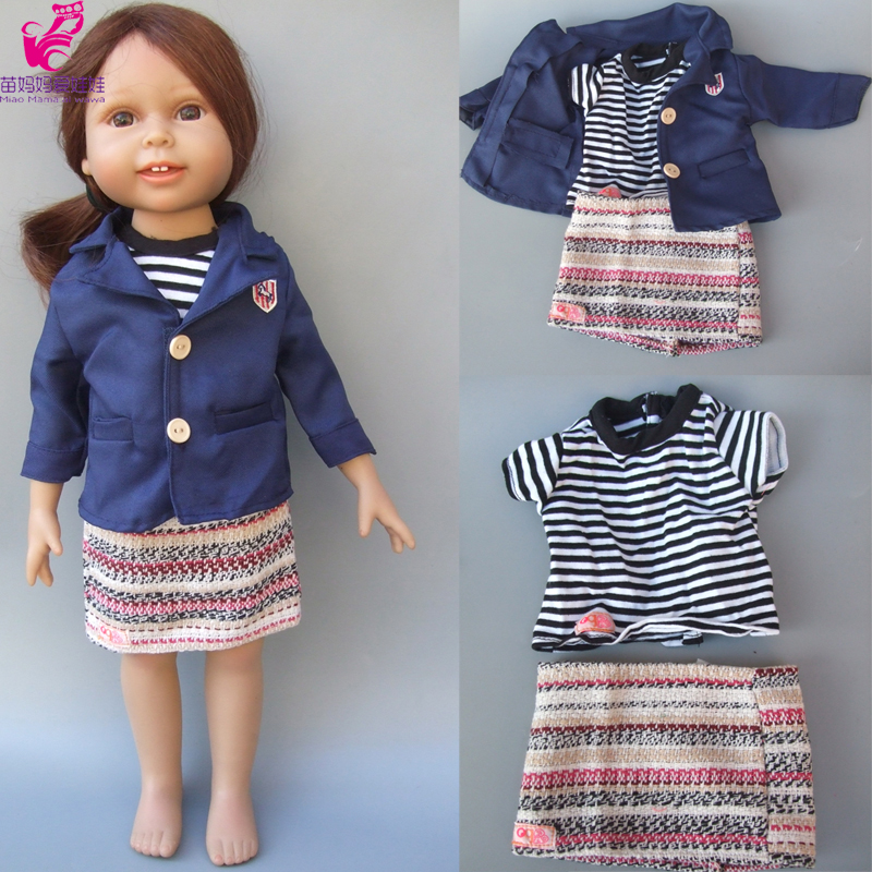 3 in 1 Doll Clothes set for 18inch 45cm American Girl doll clothes mini skirt + coat + base shirt for baby doll 9 colors american girl doll dress 18 inch doll clothes and accessories dresses