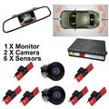 "3in1 16MM Original Flat Sensor Car Front Rear Video Parking 6 Sensors + 5"" Car Mirror Monitor with Front / Rear view Camera"