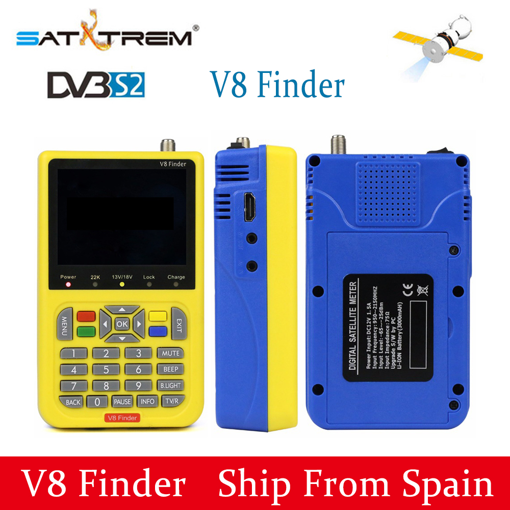 SATXTREM V8 Finder DVB-S2 High Definition Satellite Finder 3.5 Inch LCD MPEG-4 DVB S2 FTA Satfinder Satellite Meter PK WS-6916 satlink ws 6916 satellite finder dvb s2 mpeg 2 mpeg 4 3 5 inch high definition satellite meter tft lcd screen pk v8 finder