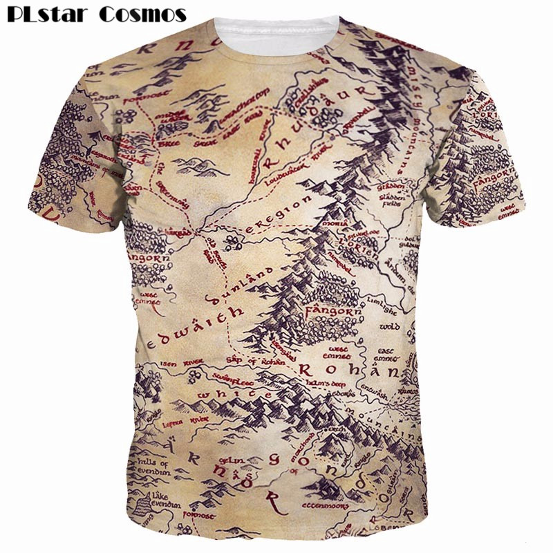 PLstar Cosmos Retro 3D Stampa The Middle Earth World Mappa T-shirt Design T-shirt Summer Top Tops 2018 Uomo / Donna vintage tshirt