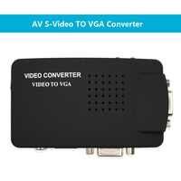 Adaptador convertidor Wiistar RCA CVBS compuesto s-video AV In a VGA Out alta resolución para Monitor Notebook negro