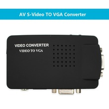 Wiistar RCA CVBS Composite S Video AV In To VGA Out Converter Adapter High Resolution for Monitor Notebook Black