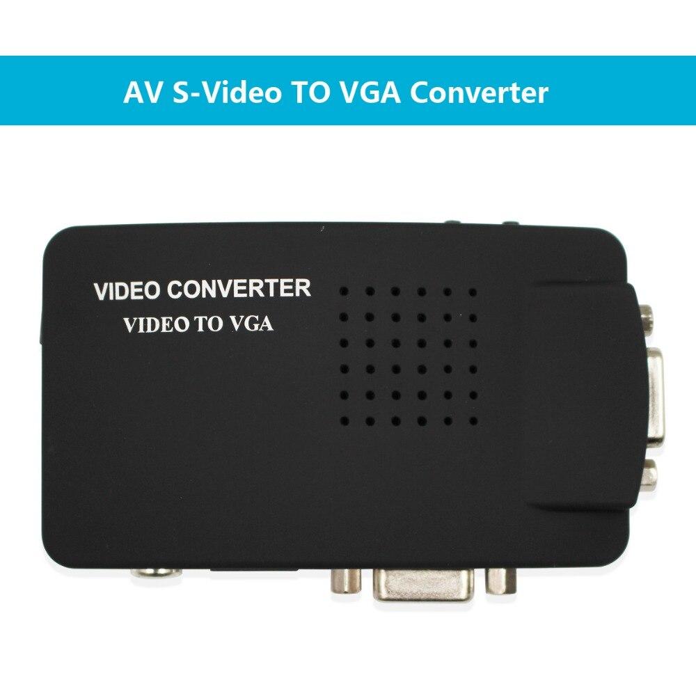 Wiistar rca cvbs compósito s-vídeo av para vga para fora conversor adaptador de alta resolução para monitor notebook preto