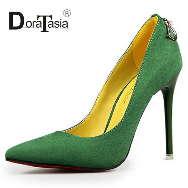2016 Fashion Women Pumps Sexy High Heels Pointed Toe Party Wedding Dress Shoes Slip On Metal Decoration Less Platform Pumps