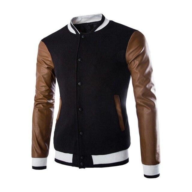 1726d655b 2016 estilo escritório homens Patchwork homem jaqueta casaco masculino  casaco dos homens jaquetas de Baseball casaco