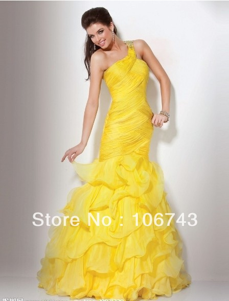 free shipping 2014 new design vestido de festa Formal Pageant sexy long yellow chiffon Elegant party evening gown prom Dresses in Prom Dresses from Weddings Events