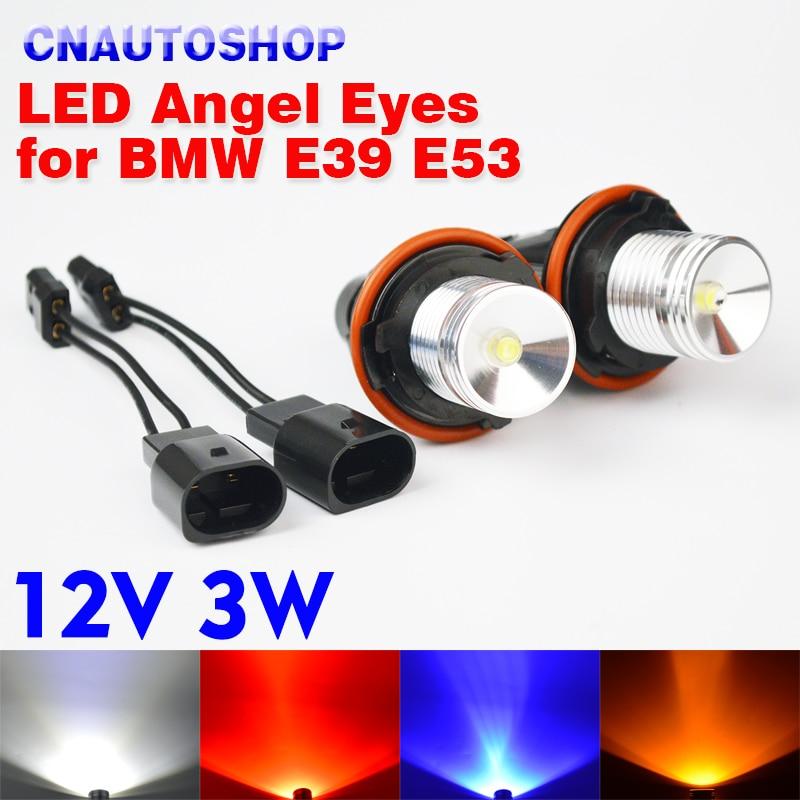 hippcron 2*3W 6W Bridgelux LED Chips LED Marker Angel Eyes White Blue Red Yellow for BMW E39 E53 E60 E61 E63 E64 E65 E66 (1 Set) 2 led canbus for bmw e39 e53 e60 e61 e63 e64 e65 e66 e83 e87 e36 angel eye light car styling lamp marker bulb white blue red