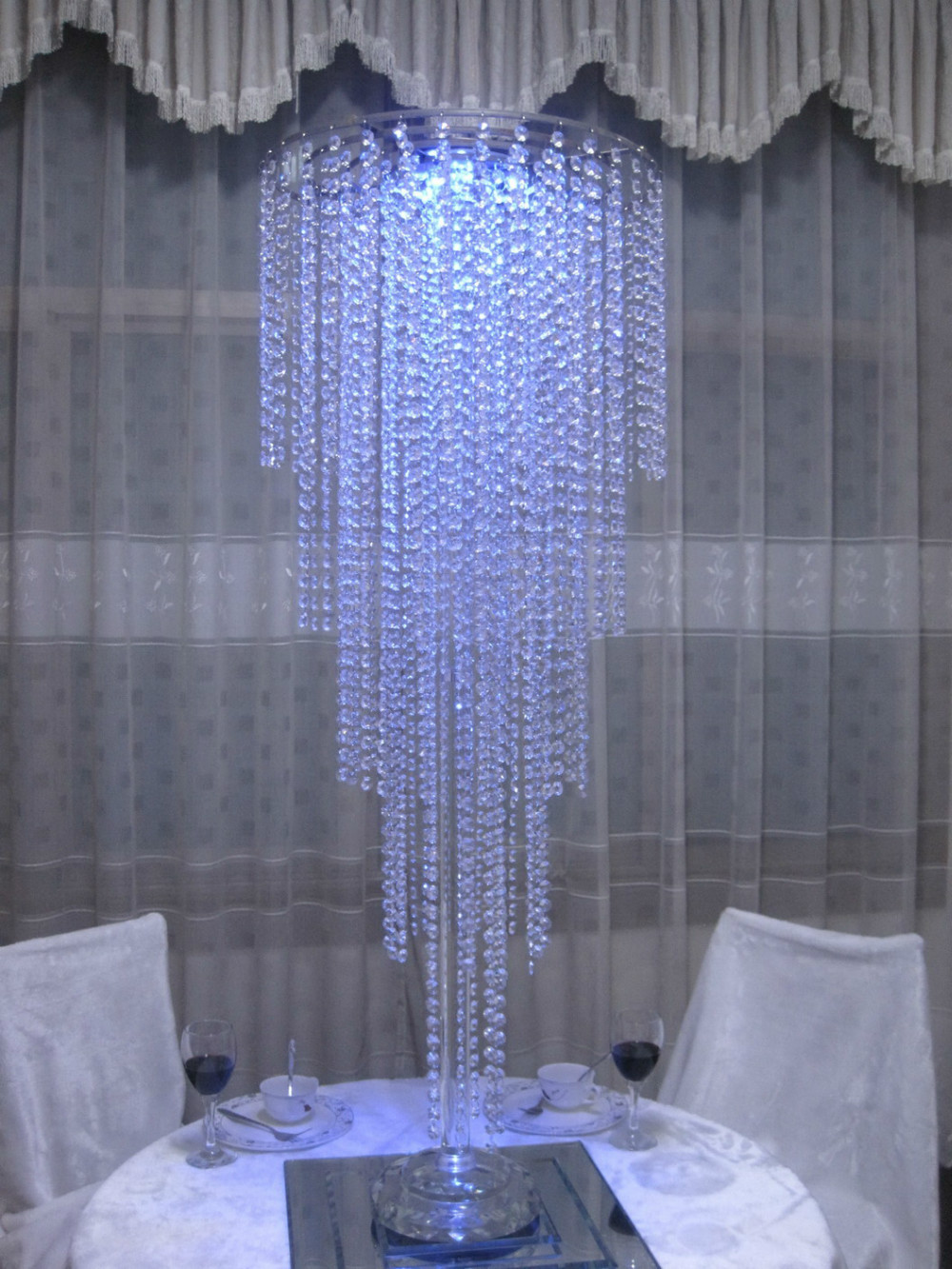 Tall wedding flower stand centerpieces 4tiers crystal chandelier table decor in Event  Wedding