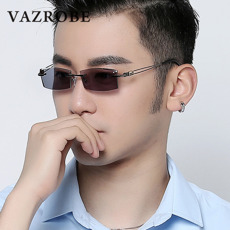 Cubojue Rimless Photochromic Glasses Men Custom Minus Diopter for Man Driving UV400 Anti Glare rescription 1.61 MR-8 Lenses