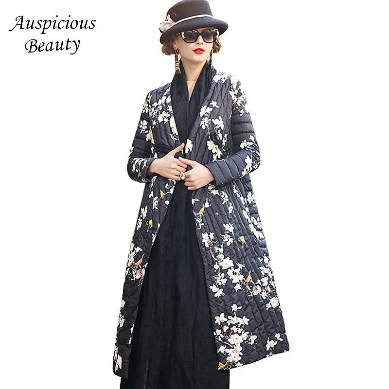 Новый бренд Для женщин зимние модные цветочные печатных v-образным вырезом Куртка с воротником Для женщин S теплая верхняя одежда женский Вы...