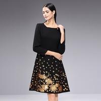 Luxurious God color Sequined women office dress 2018 Autumn Winter elegant O neck full sleeve Slim A line Knee length dresses