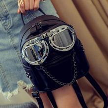 Gläser frau rucksack ketten lady mini rucksack frau leder umhängetaschen multiverbrauch reisetaschen glitter frau mini rucksack