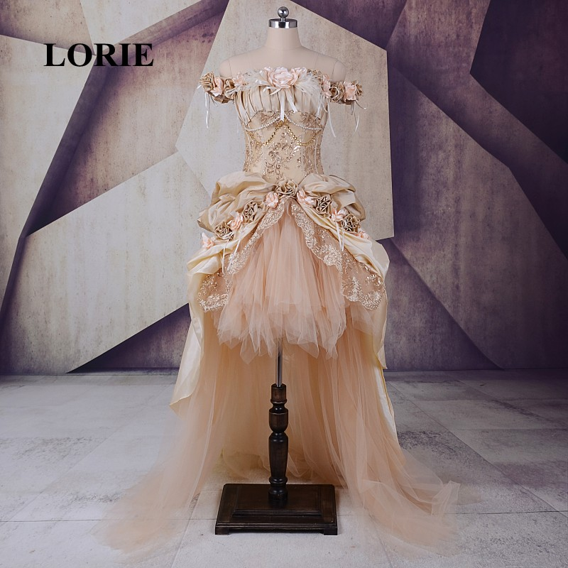 LORIE Victorian Gothic Masquerade Champagne   Prom     Dress   Halloween Princess A Line Lace Handmade Flower Party   Dresses   for 15 Years