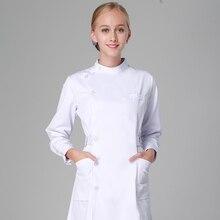 Униформа для медсестер длинный халат Больничная медицинская одежда сплошной цвет для женщин Лето и зима поли/хлопок мягкая ткань медсестры пальто