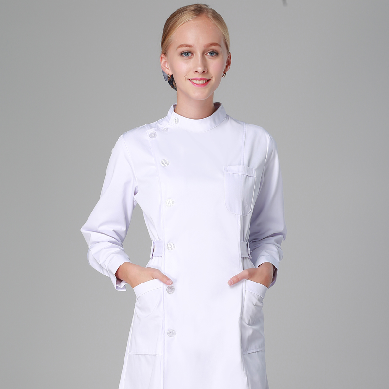 Nursing Uniforms Long Robe Hospital Medical Clothing Solid Color For Women Summer And Winter Poly/Cotton Soft Fabric Nurse Coat