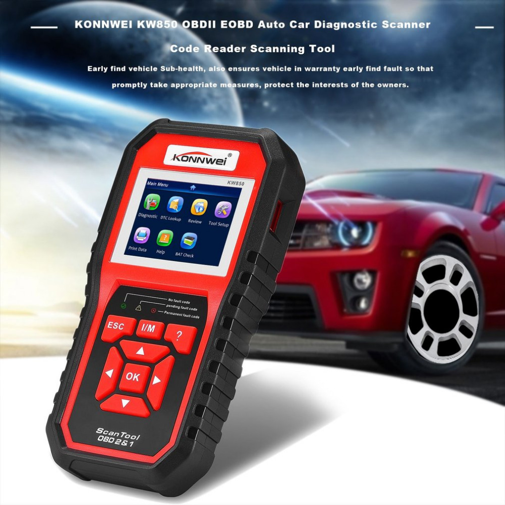 Professional KONNWEI OBDII Auto Car Diagnostic Scanner Code Reader Car Vehicle Scanning Tool Support 8 Languages Hot Selling hitag2 transponders programmer hot sale diagnostic tool auto code reader fault reader car accessories free shipping