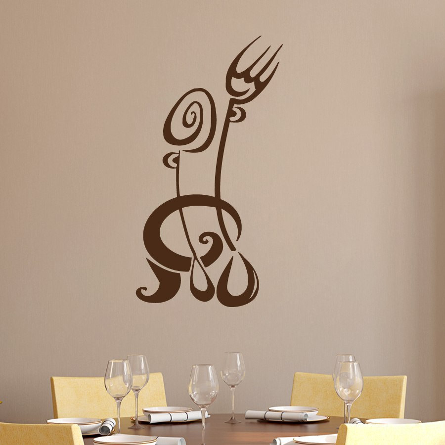 Wall Decor And Accessories : Dctop fork spoon wall sticker creative kitchen restaurant