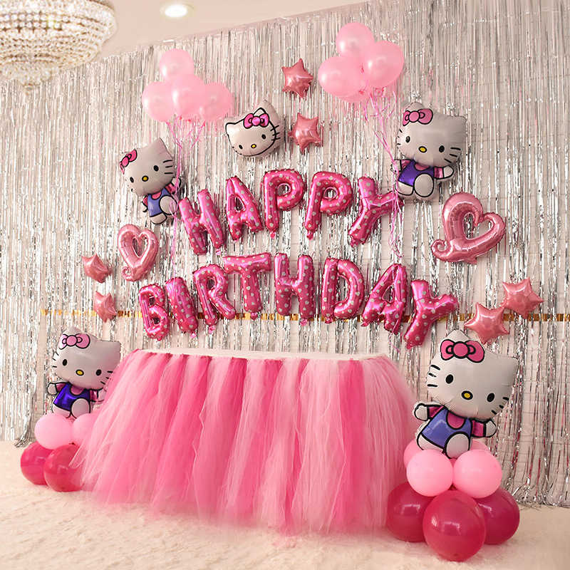 756957a31 Hello Kitty Balloons Happy Birthday Balloons Packages Girls Party  Background Decorations Aluminum Balloons Captain America