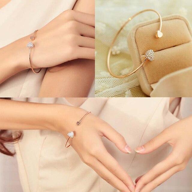 Tomtosh 2017 высокое качество сердце с двойной сердца браслет кристалл любовь золотой браслет женские Аксессуары