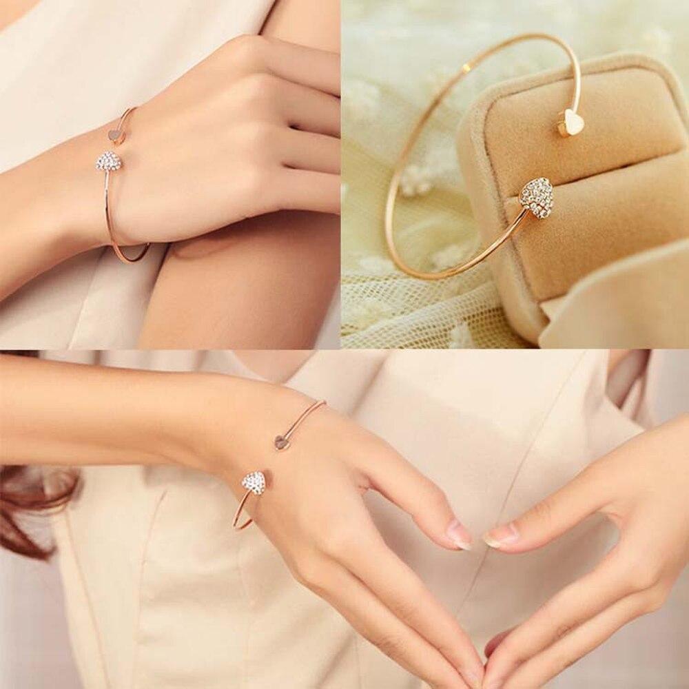 2016 abertura do coração com coração duplo amor bracelete de cristal de alta qualidade banhado a ouro Acessórios pulseira do sexo feminino S2