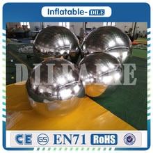 где купить Free Shipping 1.0m Diameter Floating PVC Silver Chrome Reflective Inflatable Mirror Ball for Decoration по лучшей цене