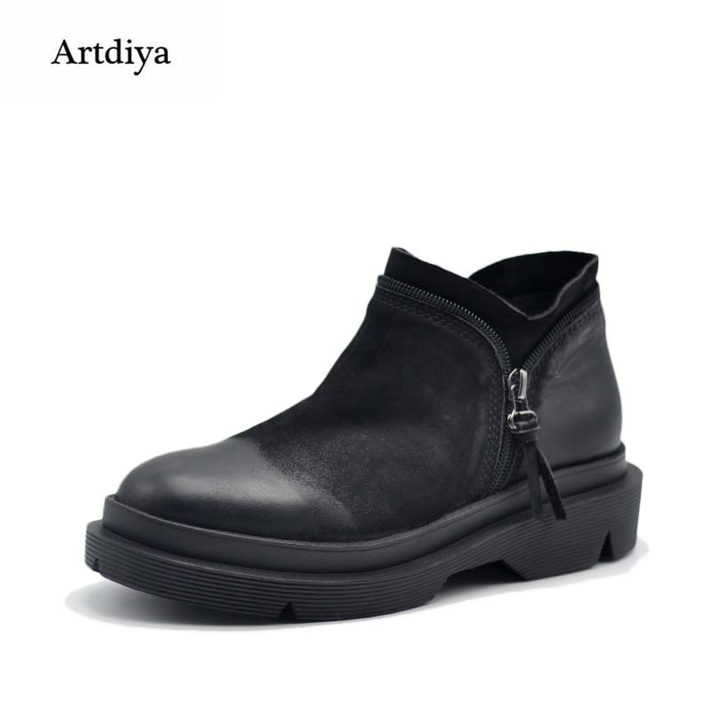 Artdiya Original 2017 Autumn and Winter New Style Retro Genuine Leather Ankle Boots Flat Thick Sole Women Boots  Martin Boots autumn and winter new ladies genuine