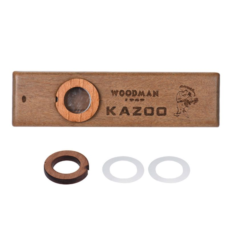 Classic Wooden Kazoo Beautiful Smooth Surface Musical Instrument Grade With Attached Film Metal Box Simple Construction