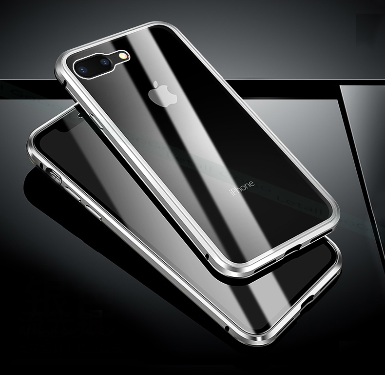 Magnetic clear  tempered glass Metal phone cover case (14)