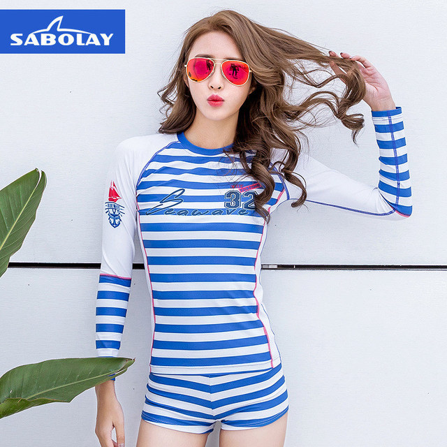 SABOLAY Women tight Rashguard Navy shirts lycra beach clothes Long sleeve surfing swimming swimsuit snorkeling water sports suit