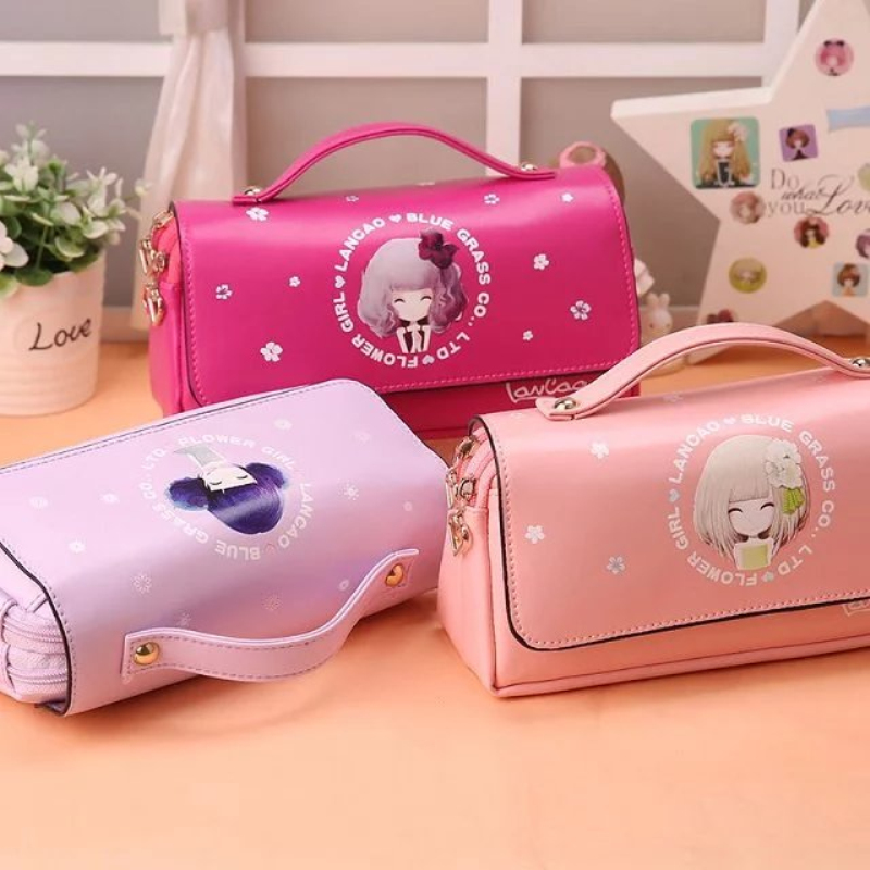 Cartoon Princess School Pencil Case Large Pencil Case Pu Leather Portable Pencil Case Girl Gift Stationery Office Supplies snack pencil case