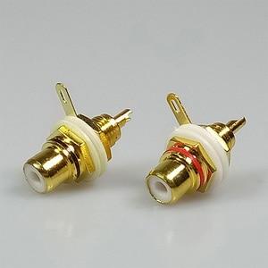 Image 5 - 50 pcs זהב מצופה לבן פלסטיק RCA מחבר RCA מתאם הרכבה בלוח שלדת אודיו שקע מחיצת עם אגוז הלחמה כוס מסוף