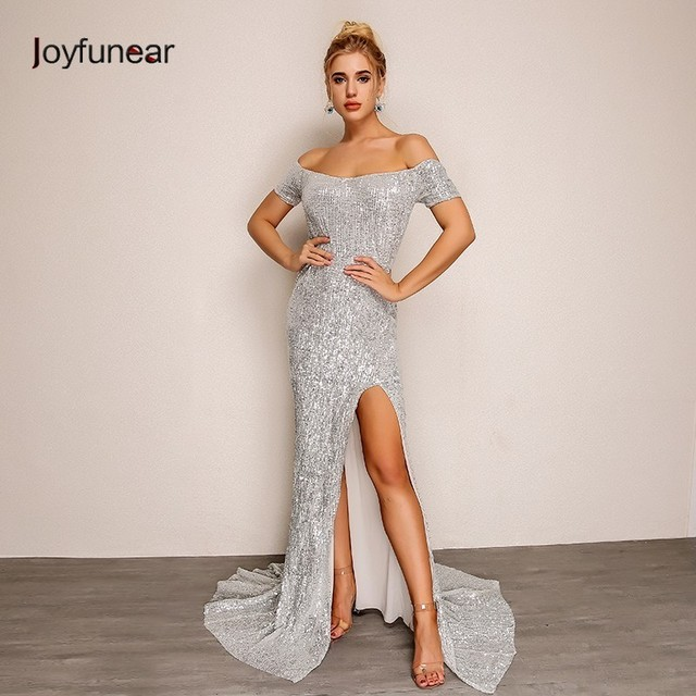 Joyfunear Slash Neck Split Summer Autumn Maxi Dress Vestido Longo Sequin  Bodycon Dress Party Sexy Dresses Women Clothes 2018 b004db5130cc