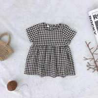 Summer Kids Girls Casual Flare Sleeve Plaid Print Dress Costume Baby Children Dresses 2 color for 1-6T