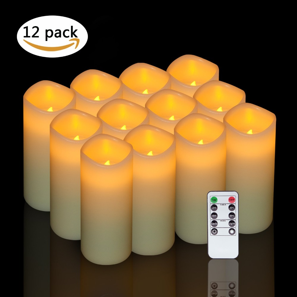 Eldnacele Set of 12 Flameless Candle Flickering LED Candles Real Wax Pillar Battery Opeated Candles with 10 key Remote and Timer