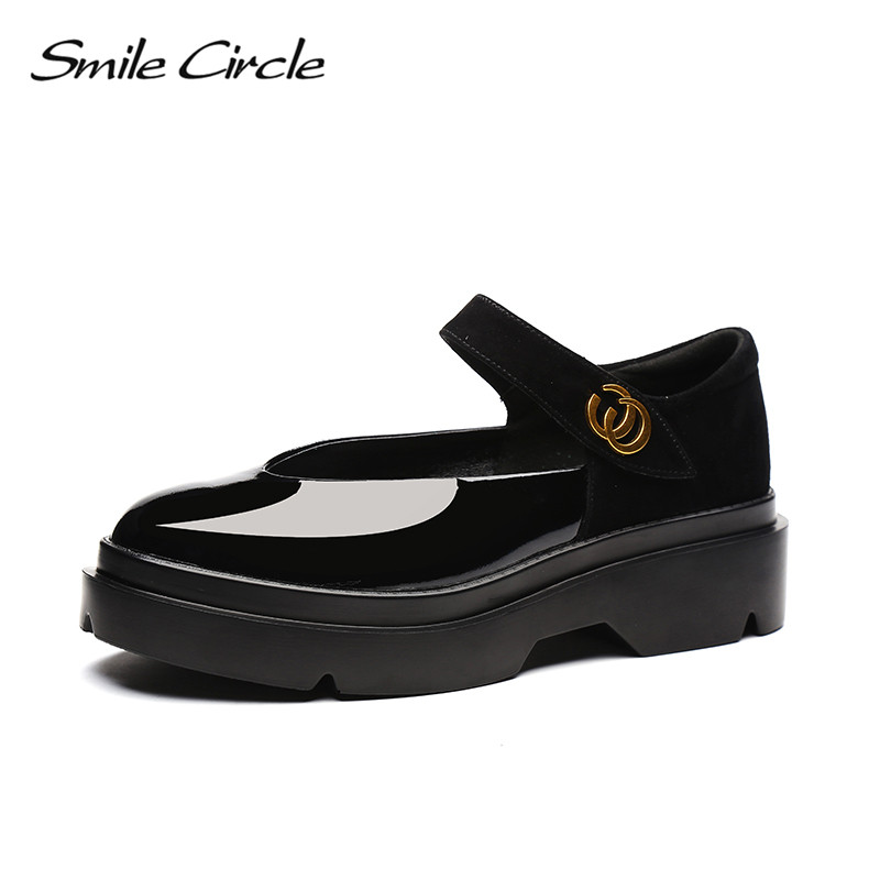 Smile Circle 2018 New British Style Patent Leather Shoes For Women Fashion Buckle Round Toe Flat Platform Casual Shoes A98A301-2 beffery 2018 british style patent leather flat shoes fashion thick bottom platform shoes for women lace up casual shoes a18a309