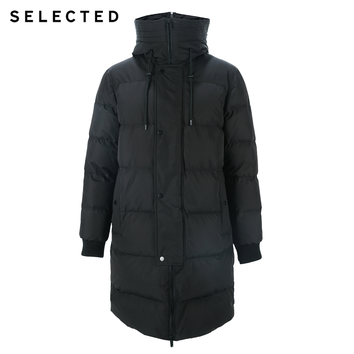 SELECTED 2019 New Winter Down Jacket Men's Zipper and Hat Casual Clothes Medium-and-Long Coat  S | 418412503