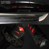 Настоящее японский меч самурая Полный Тан Бо Здравствуйте 15 раз Сложенный Сталь 32768 слоев глины закаленное лезвие катаны Sharp можно вырезать