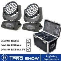 36x18W Zoom LED Moving Head Wash Lyre RGBWA UV 6in1 Stage Light Dj Equipment For Mobile Dj Disco 2Pcs 1 Flight Case RGBW/RGBWA
